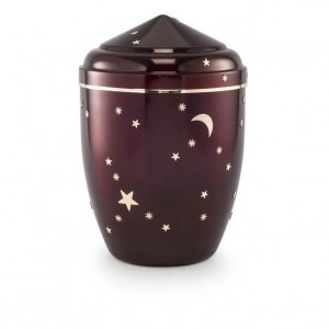 Infant  / Child / Boy / Girl Cremation Ashes Funeral Urn (Burgundy with Gold Moon & Stars Design)